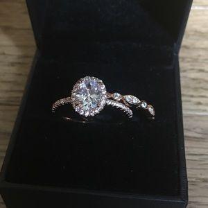 Jewelry - ❤️2pcs Rose Gold Engagement Ring Wedding Bands Set